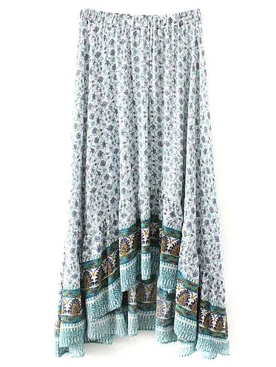 Patterned High Low Maxi Boho Skirt - WHITE M Mobile