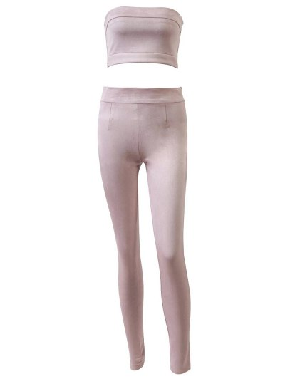 High Rise Suede Pants with Tube Top - PINK S Mobile