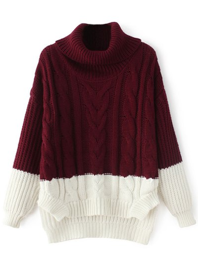 Cowl Neck High-Low Sweater - WINE RED ONE SIZE Mobile