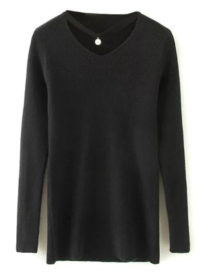 Choker Ribbed Sweater - BLACK ONE SIZE Mobile