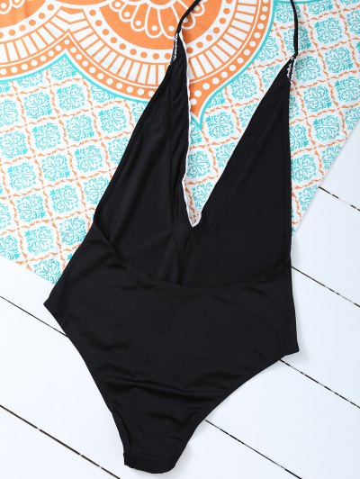 Backless Plunge Neck Lacework Swimwear - BLACK L Mobile