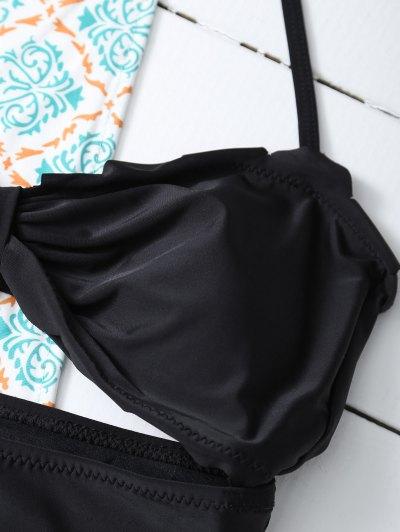 Bowknot Cut Out One-Piece Swimwear - BLACK 2XL Mobile