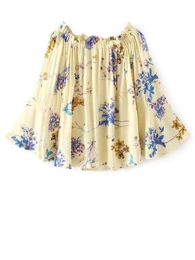 Off Shoulder Flare Sleeve Floral Blouse - PALOMINO L Mobile