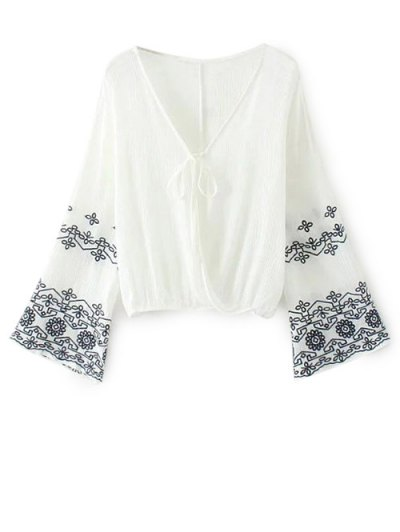 Embroidered Loose Surplice Blouse - WHITE L Mobile