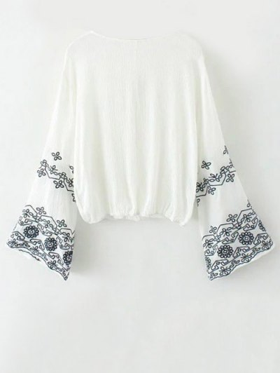 Embroidered Loose Surplice Blouse - WHITE M Mobile