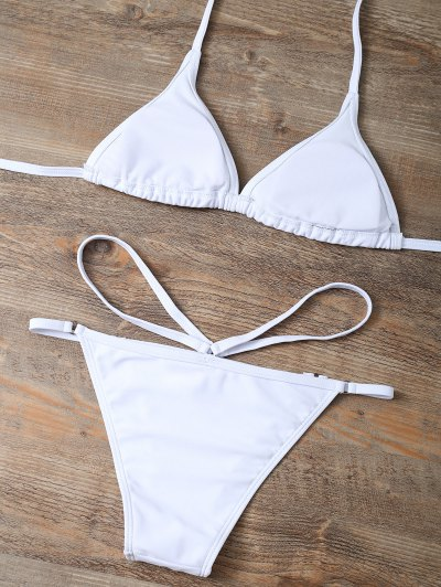 Sheel Print Cut Out Bikini Set - WHITE L Mobile