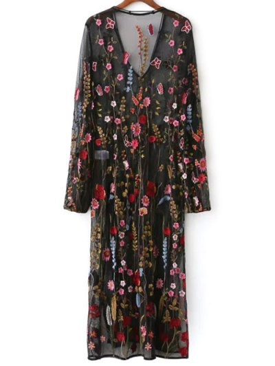 Mesh Floral Embroidered Sheer Dress - BLACK M Mobile
