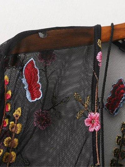 Mesh Floral Embroidered Sheer Dress - BLACK S Mobile