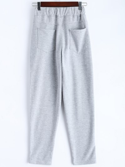 Zip Design Drawstring Sweatpants - LIGHT GRAY S Mobile