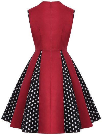 Vintage Sleeveless Polka Dot Dress - RED 4XL Mobile