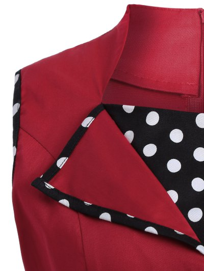 Vintage Sleeveless Polka Dot Dress - RED 2XL Mobile