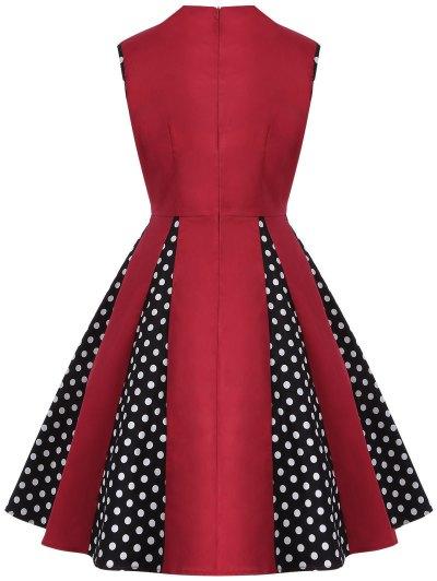 Vintage Sleeveless Polka Dot Dress - RED L Mobile