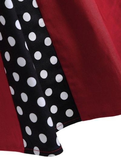 Vintage Sleeveless Polka Dot Dress - RED S Mobile