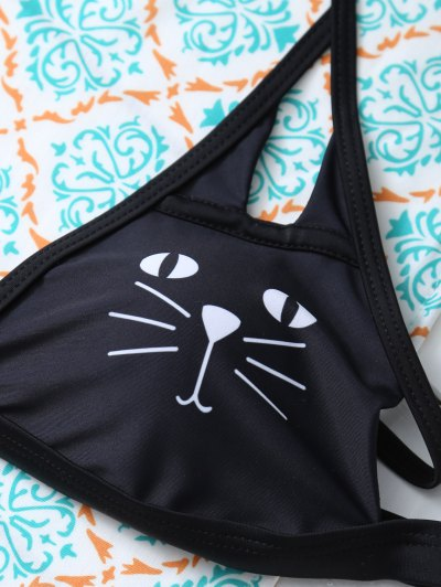 Halter Cutout Cartoon Cat Bikini Set - PURPLISH BLUE S Mobile