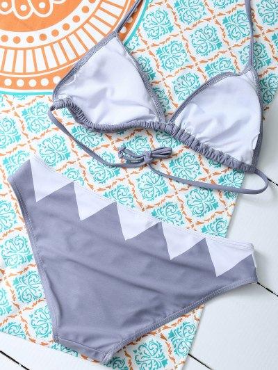 Cartoon Shark Pattern Halter Bikini - GRAY M Mobile