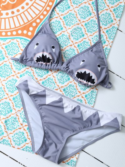 Cartoon Shark Pattern Halter Bikini - GRAY S Mobile