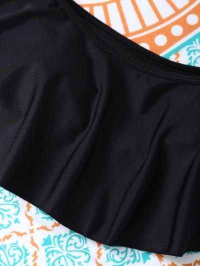 Padded Ruffles Top With Cutout Briefs Bikini - BLACK XL Mobile