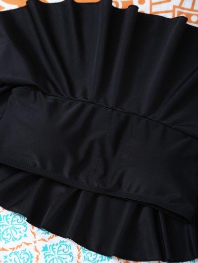 Padded Ruffles Top With Cutout Briefs Bikini - BLACK L Mobile