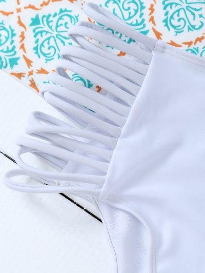 Padded Ruffles Top With Cutout Briefs Bikini - WHITE M Mobile
