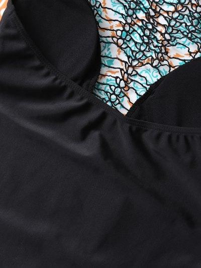 Cut Out One-Piece Swimwear - BLACK XL Mobile