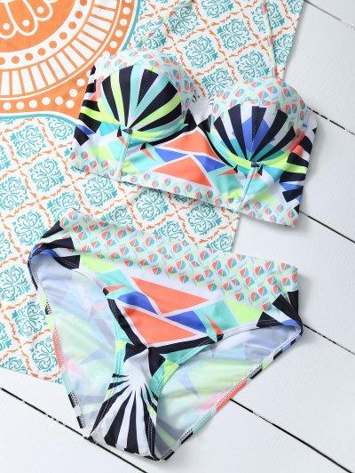 Geometric Lace-Up Bikini Set - COLORMIX M Mobile