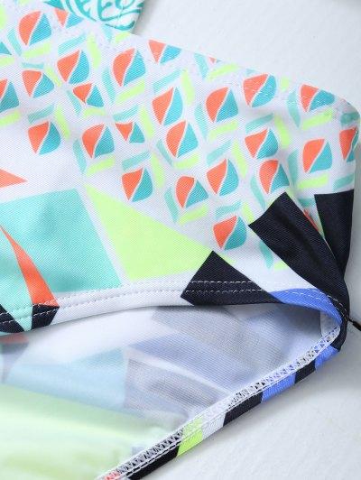 Geometric Lace-Up Bikini Set - COLORMIX S Mobile