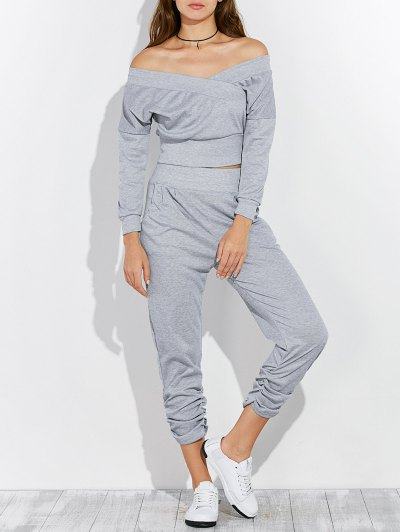 Off The Shoulder T-Shirt and Pants - GRAY XL Mobile