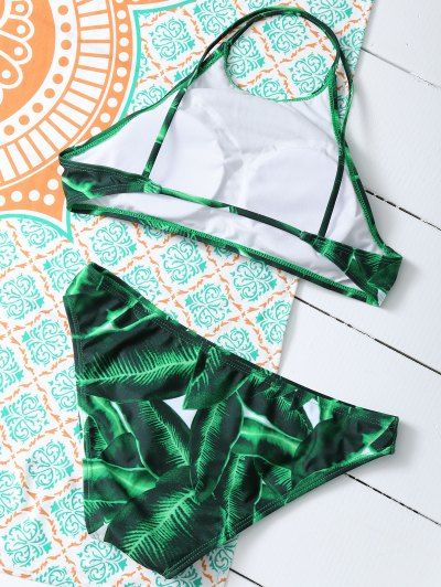 Women Leaves Print Bikini Set - GREEN M Mobile