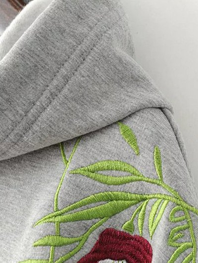 Drawstring Flower Embroidered Hoodie - GRAY M Mobile