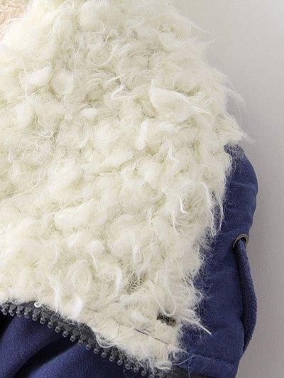 Zip-Up Lamb Wool Coat - BLUE L Mobile