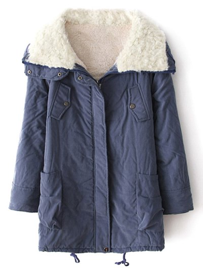 Zip-Up Lamb Wool Coat - BLUE M Mobile