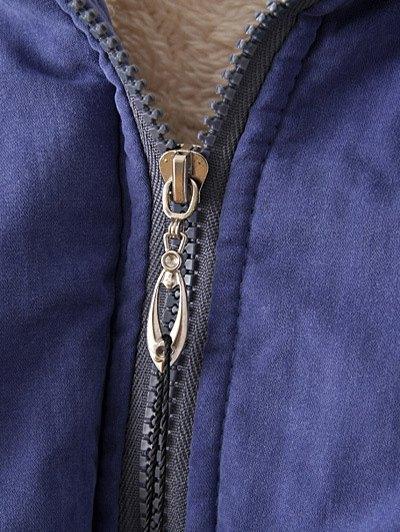 Zip-Up Lamb Wool Coat - KHAKI L Mobile