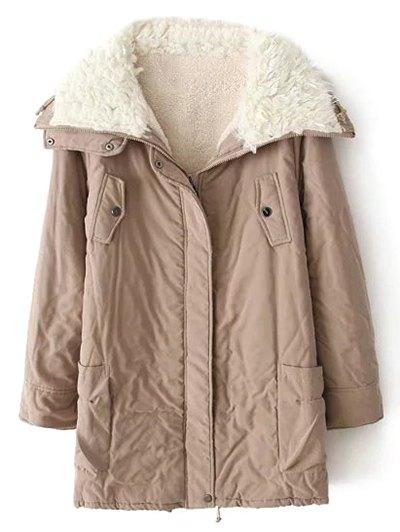 Zip-Up Lamb Wool Coat - KHAKI S Mobile