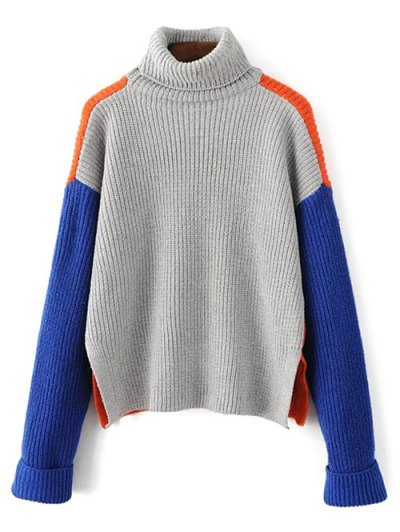 Color Block Side Slit Chunky Sweater - BLUE ONE SIZE Mobile