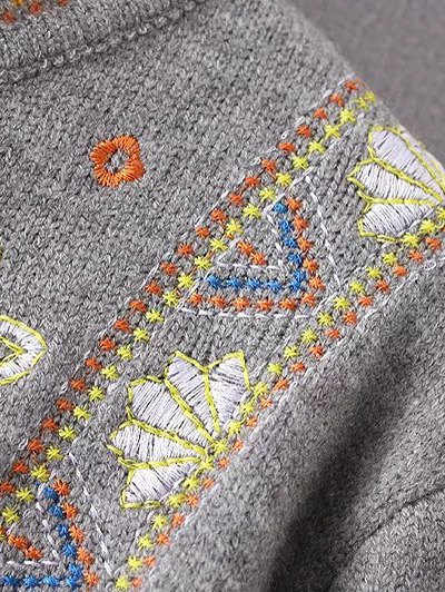 High Neck Graphic Sweater - GRAY ONE SIZE Mobile