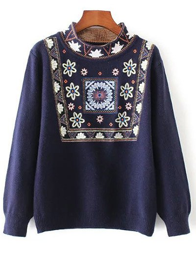 High Neck Graphic Sweater - PURPLISH BLUE ONE SIZE Mobile