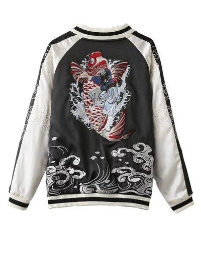 Double Side Sukajan Jacket - BLACK L Mobile