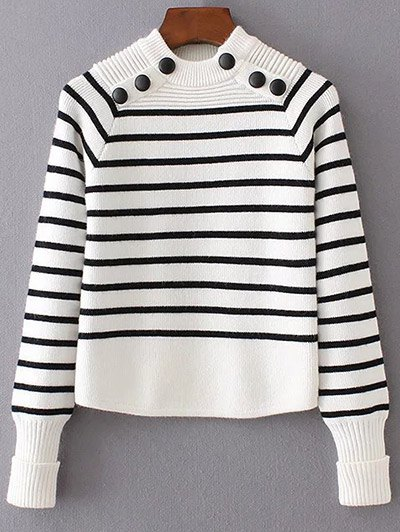 Striped Mock Neck Sweater - WHITE L Mobile
