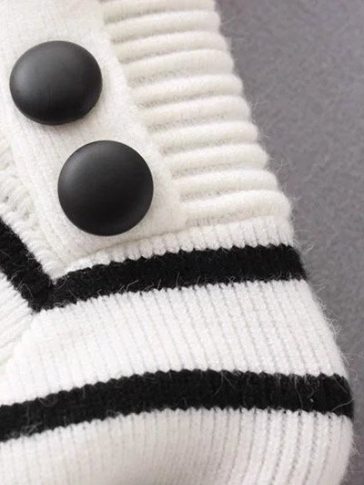 Striped Mock Neck Sweater - BEIGE M Mobile