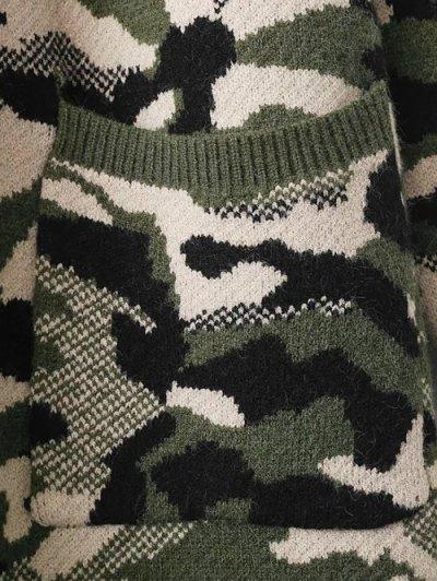 Camoflage Longline Cardigan - PURPLE ONE SIZE Mobile
