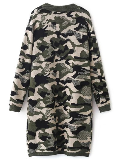 Camoflage Longline Cardigan - ARMY GREEN ONE SIZE Mobile
