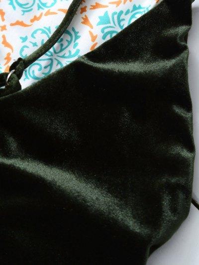 Reversible Cross Back Pleuche Swimwear - BLACKISH GREEN M Mobile