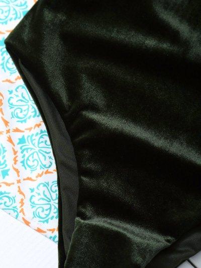Reversible Cross Back Pleuche Swimwear - BLACKISH GREEN S Mobile