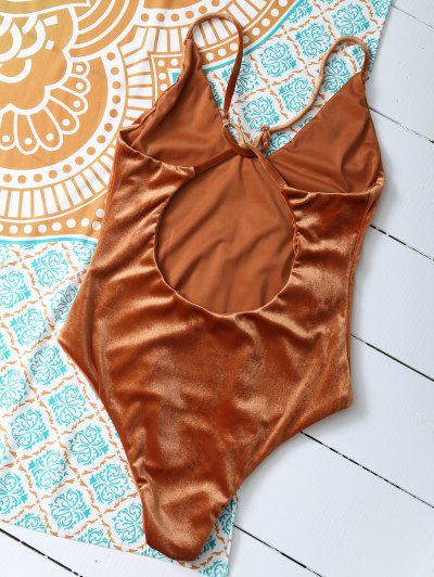 Reversible Cross Back Pleuche Swimwear - ORANGE L Mobile