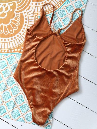 Reversible Cross Back Pleuche Swimwear - ORANGE S Mobile