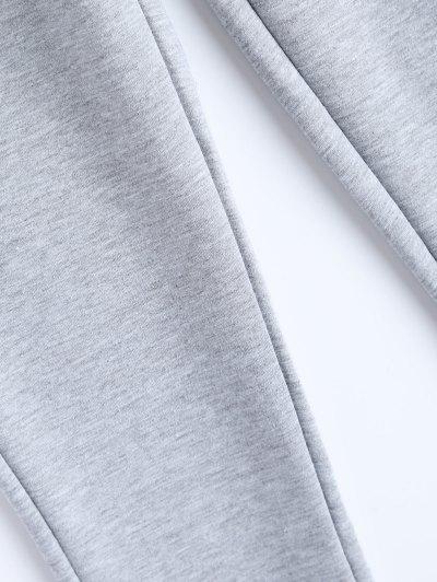 Zip Design Drawstring Sweatpants - LIGHT GRAY L Mobile