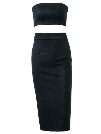 Suede Bodycon Skirt with Tube Top - BLACK L Mobile