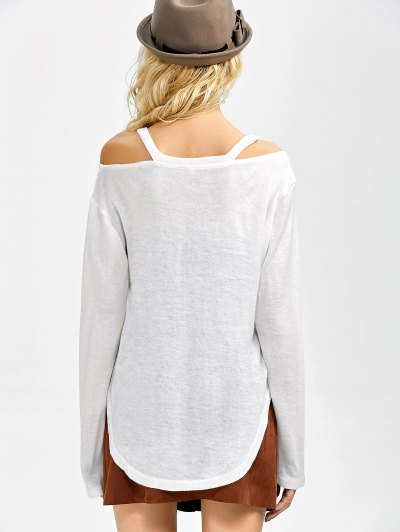 Cut Out V Neck Pullover Sweater - WHITE S Mobile