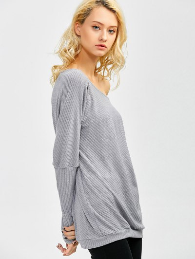 Asymmetric Neckline Batwing Sweater - GRAY L Mobile