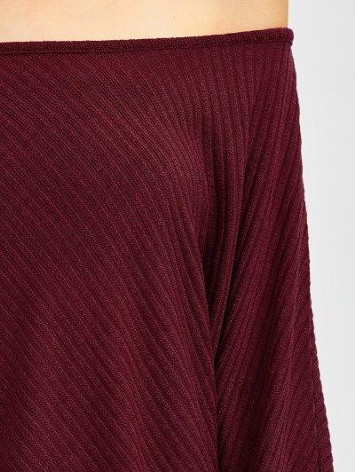 Asymmetric Neckline Batwing Sweater - WINE RED XL Mobile